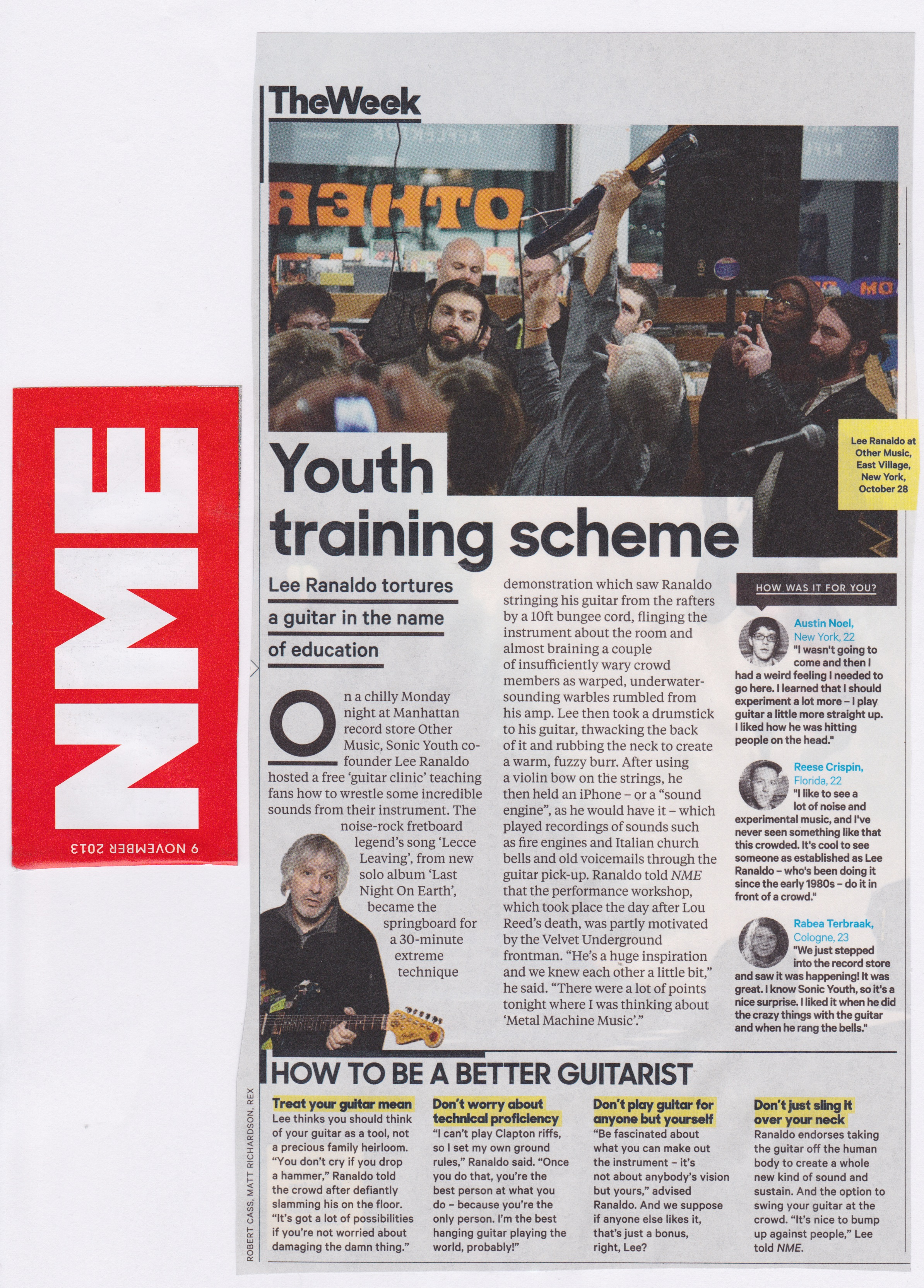 NME print version of Guitar Lesson report